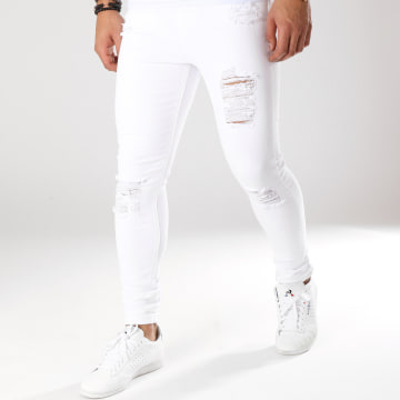 Gianni Kavanagh - Jean Skinny Déchiré Ripped And Repair Noir Blanc