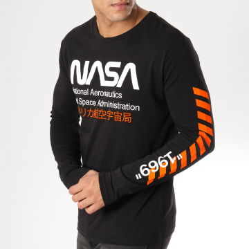 NASA - Tee Shirt Manches Longues Admin Noir Orange