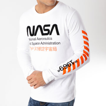 NASA - Tee Shirt Manches Longues Admin Blanc Noir Orange