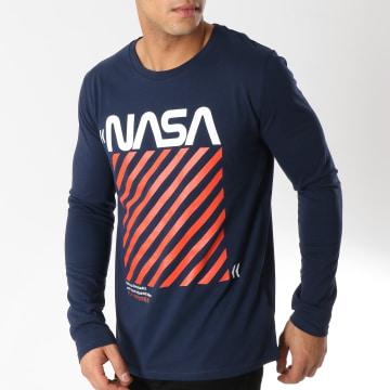 Tee Shirt Manches Longues Caution Bleu Marine