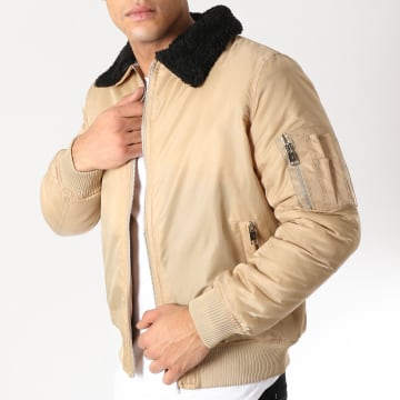 Bomber Col Mouton Greenfield Beige Noir