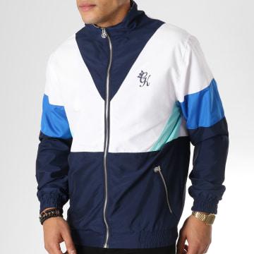 Gym King - Veste Zippée Retro Shell Bleu Marine Blanc Bleu Clair