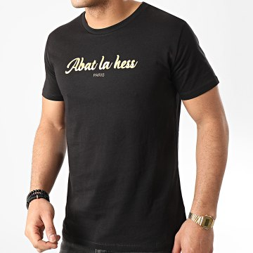 OhMonDieuSalva - Tee Shirt Abat La Hess Logo Noir Doré