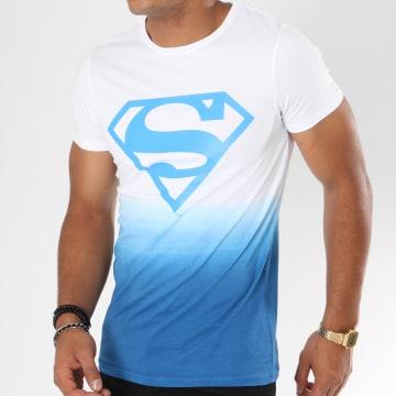 DC Comics - Tee Shirt Dégradé Logo Blanc Bleu