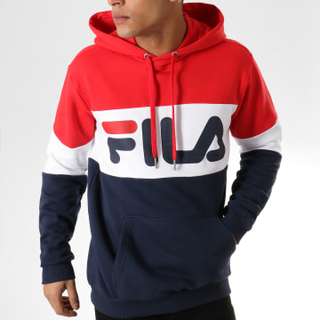 Sweat Capuche Blocked 687001 Bleu Marine Blanc Rouge