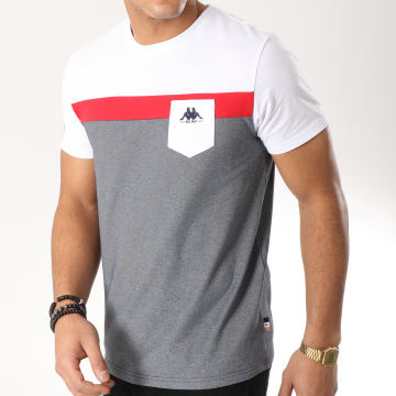 Tee Shirt Authentic Ido 304PIY0 Blanc Rouge Noir Chiné