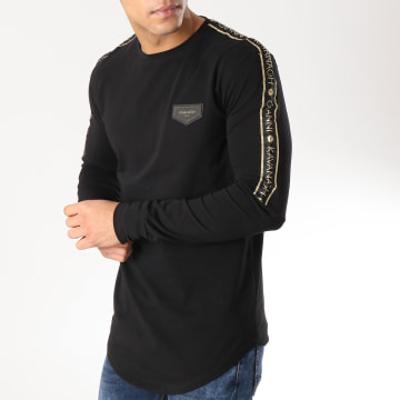 Gianni Kavanagh - Tee Shirt Oversize Manches Longues Gold Lurex Ribbon Noir Doré