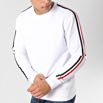 LBO - Sweat Crewneck Avec Bandes Bleu Blanc Rouge 580 Blanc
