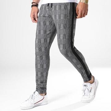 Pantalon A Carreaux Jogger Avec Bandes Noir 587 Gris