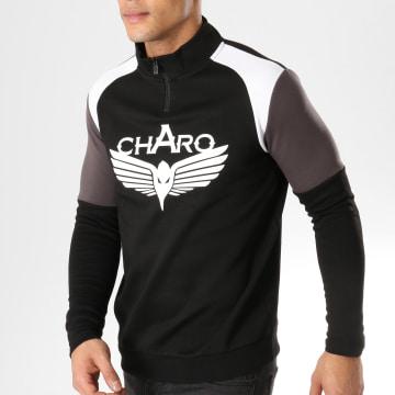 Charo - Sweat Col Zippé Beamer Noir Blanc