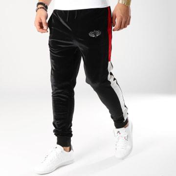 Charo - Pantalon Jogging Avec Bandes Velours Velvet Noir Rouge