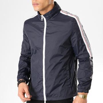 Antony Morato - Coupe-Vent Avec Bandes Abbigliamento Bleu Marine Blanc