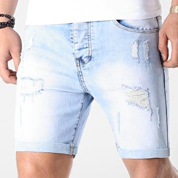 LBO - Short Jean Avec Dechirures LB054-B5 Bleu Clair
