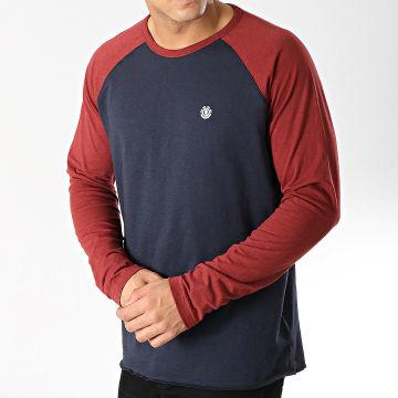 Element - Tee Shirt Manches Longues Blunt Bleu Marine Bordeaux