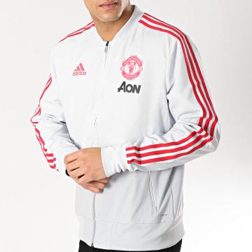 Adidas Performance - Veste Zippée Avec Bandes Manchester United DP6933 Gris Clair Rouge