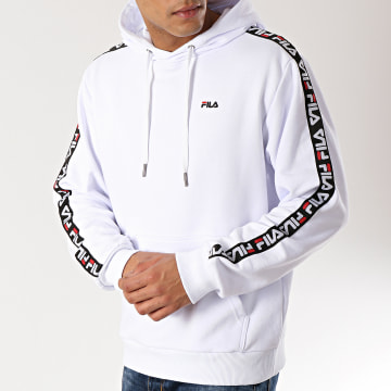 Sweat Capuche Avec Bandes David Tape 687023 Blanc