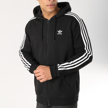 Adidas Originals - Sweat Zippé Capuche 3 Stripes DV1551 Noir Blanc