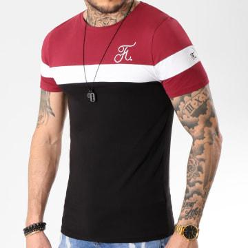 Tee Shirt Tricolore Avec Broderie 174 Noir Blanc Bordeaux