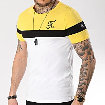 Tee Shirt Tricolore Avec Broderie 166 Blanc Noir Jaune