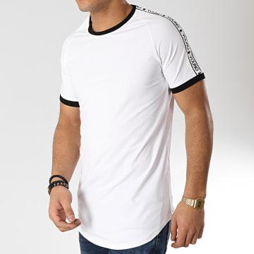 Tee Shirt Oversize Avec Bandes 98218-1 Blanc