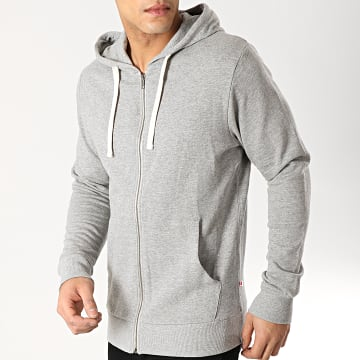 Jack And Jones - Sweat Zippé Capuche Holmen Gris Chiné