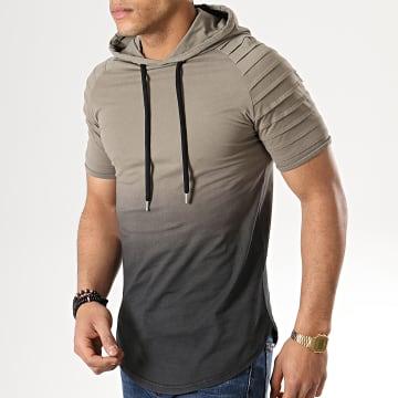 LBO - Tee Shirt Capuche Oversize Dégradé 598 Khaki Noir