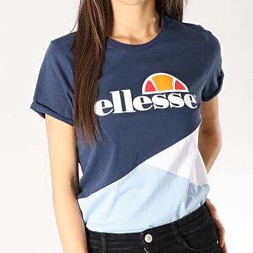 Tee Shirt Femme Tricolore 1074N Bleu Marine Bleu Clair Blanc