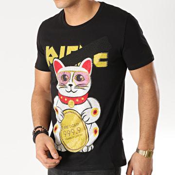Jeune Riche - Tee Shirt Strass Chat Noir