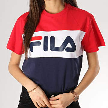 Fila - Tee Shirt Femme Allison 682125 Bleu Marine Blanc Rouge