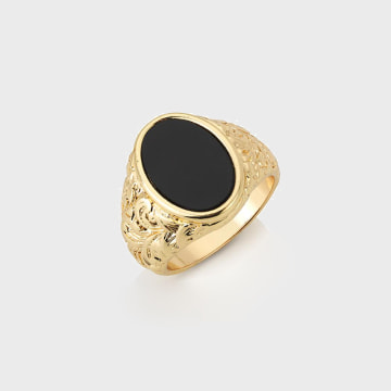 Chained And Able - Bague Oval Detail RC17090 Doré Noir