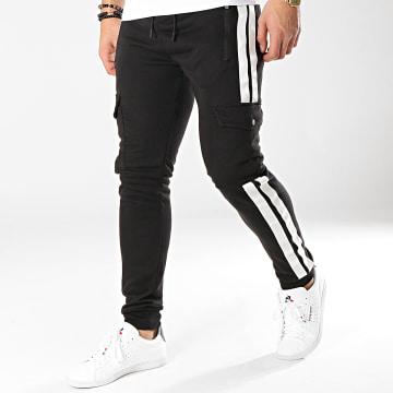 Zayne Paris  - Pantalon Jogging Avec Bandes MK10 Noir Blanc