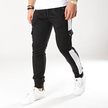 Zayne Paris  - Pantalon Jogging Avec Bandes MK07 Noir Blanc