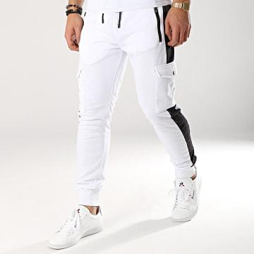 Zayne Paris  - Pantalon Jogging Avec Bandes MK07 Blanc Noir
