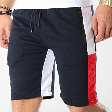 Short Jogging Avec Bandes MD03 Bleu Marine Blanc Rouge