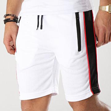Short Jogging Avec Bandes MD02 Blanc Noir