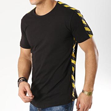 Ikao - Tee Shirt Oversize Avec Bandes F418 Noir Jaune