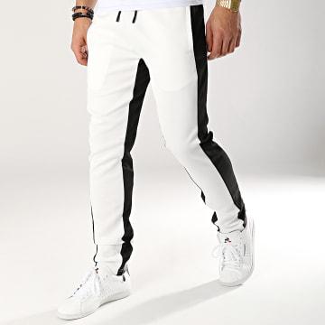 Zayne Paris  - Pantalon Jogging Avec Bandes MK01 Blanc Noir
