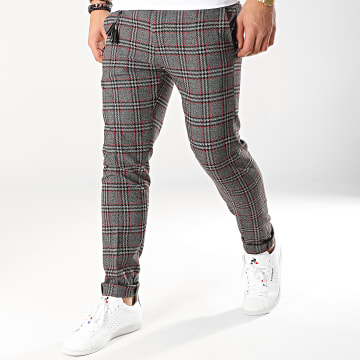 Classic Series - Pantalon Carreaux P19020 Gris Chiné Noir Rouge