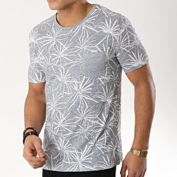 Tee Shirt Poche F1018 Gris Floral