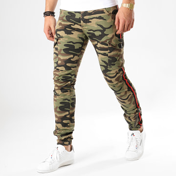 Pantalon Cargo Avec Bandes 1801 Vert Kaki Camouflage