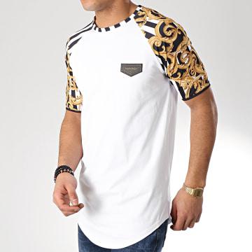 Tee Shirt Oversize Baroque And Stripes Blanc Noir Renaissance