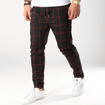 Pantalon Carreaux 7337-QR04 Noir Rouge