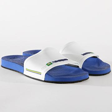 Havaianas - Claquettes Slide Brasil 4142616 Blanc Bleu Roi
