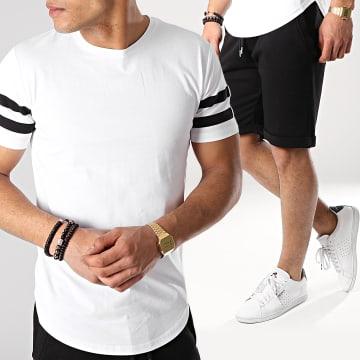 Ensemble Tee Shirt Et Short Avec Bandes 673 Noir Blanc