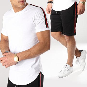 Ensemble Tee Shirt Et Short Avec Bandes 675 Noir Blanc