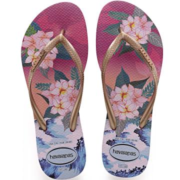Havaianas - Tongs Femme Slim Tropical Sunset 4143981 Rose Doré Floral