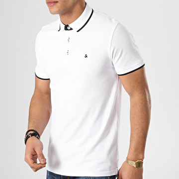 Jack And Jones - Polo Manches Courtes Paulos Blanc Noir