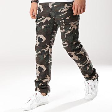 Jack And Jones - Pantalon Cargo Drake Chop Vert Kaki Camouflage