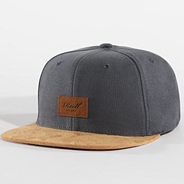 Reell Jeans - Casquette Snapback Suède Gris Anthracite Camel