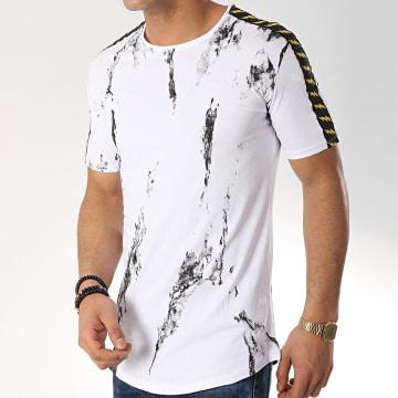 Tee Shirt Oversize Avec Bandes F487 Blanc